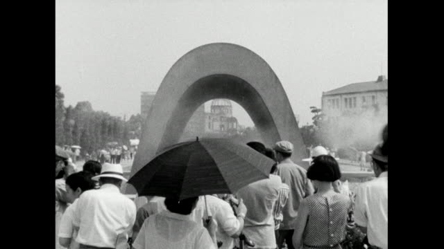 zo atomic bomb dome through hiroshima memorial; 1966 - sad old asian man stock videos & royalty-free footage