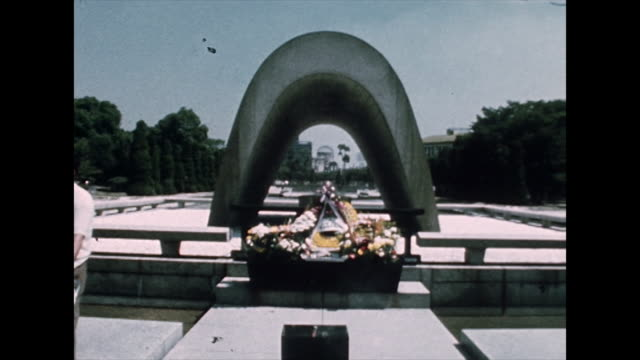 zo atomic bomb dome through hiroshima memorial; 1975 - weapons of mass destruction stock videos & royalty-free footage