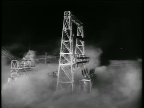 SOLARIZED atomic explosion test blasting past electric towers / Nevada / documentary