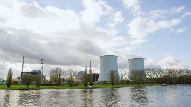 WS POV Atomic Power Plant on Shore of River Rhein / Koblenz, Germany