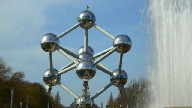 atomium in the urban district of laeken, brussels, brabant, belgium, europe - brussels capital region stock videos & royalty-free footage