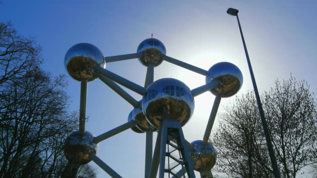 atomium in the urban district of laeken, brussels, brabant, belgium, europe - tourist stock videos & royalty-free footage