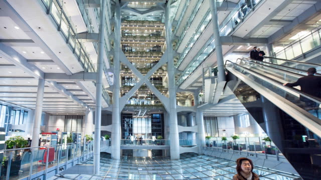 Atrium of HSBC building in central Hong Kong