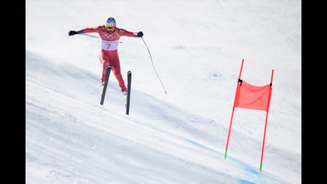 attacking viking aksel lund svindal claims gold in the blue riband event of the olympic alpine skiing programme, the men's downhill in a thrilling... - alpine skiing stock videos & royalty-free footage