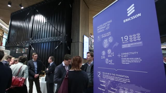 Attendees mingle as Ericsson AB opens their 5G mobile data service and Internet of Things Corda Campus in Hasselt Belgium on Wednesday Jan 17 2018