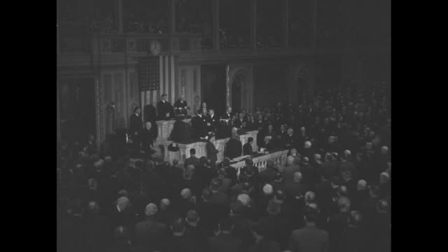 ws attendees of joint session of us congress applaud us secretary of state cordell hull after he completes speech about the third moscow conference - joint session of congress stock videos and b-roll footage