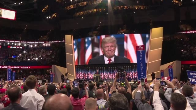 attendees of the republican convention enthusiastically received donald trumps keynote speech on thursday night in which he accepted the partys... - nomination stock videos & royalty-free footage