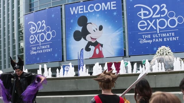 attendees wear costumes during the d23 expo 2017 in anaheim, california, u.s. inside the d23 expo 2017 at the anaheim convention center in anaheim,... - anaheim california stock videos & royalty-free footage