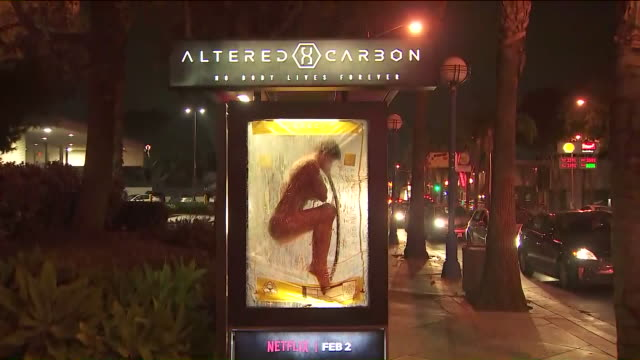 ktla attentiongrabbing netflix ad pops up on west hollywood bus stop - bushaltestelle stock-videos und b-roll-filmmaterial