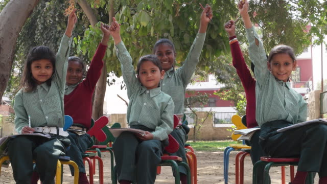 Attentive school children raising their hands to answer
