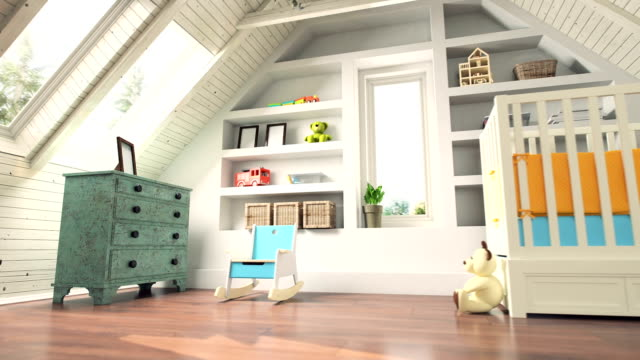 attic nursery room interior - modern bedroom stock videos & royalty-free footage