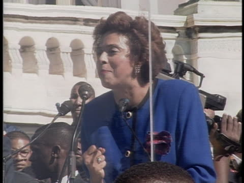 attorney e. faye williams encourages black citizens to register to vote at the million man march in october 1995. - 1995 stock videos & royalty-free footage