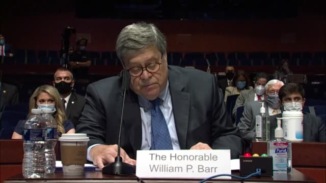 attorney general bill barr tells the house judiciary committee in a prepared statement at an oversight hearing that unfortunately some had chosen to... - attorney general stock videos & royalty-free footage