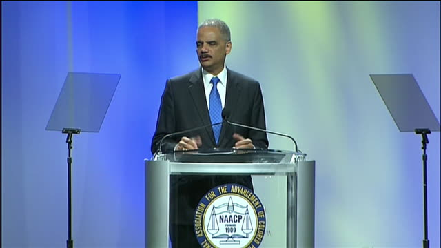attorney general eric holder says that the george zimmerman/trayvon martin case gives the nation an opportunity for a much-needed national... - crime or recreational drug or prison or legal trial stock videos & royalty-free footage