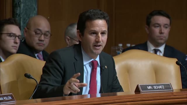 attorney general jeff sessions answers questions from hawaii senator brian schatz at a senate appropriations subcommittee at a fiscal 2019 budget... - brian wells stock videos & royalty-free footage