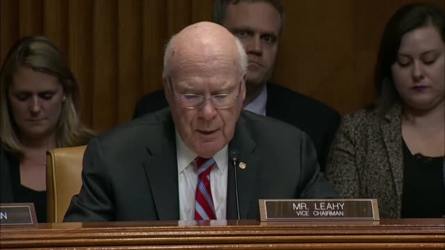 Attorney General Jeff Sessions answers questions from Vermont Senator Pat Leahy at a Senate Appropriations subcommittee at a fiscal 2019 budget...