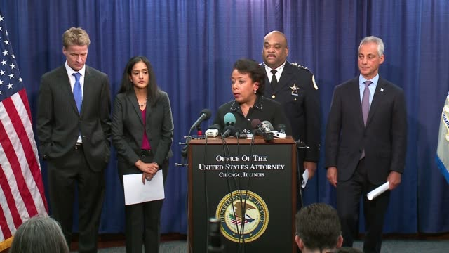 attorney general loretta lynch on enforcing chicago police reform recommendations from the doj report after the obama administration leaves and the... - department of justice stock videos & royalty-free footage