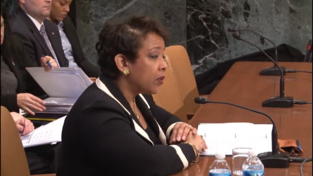 attorney general of the united states loretta lynch reads a prepared statement to a subcommittee of the senate committee on appropriations about an... - attorney general stock videos & royalty-free footage