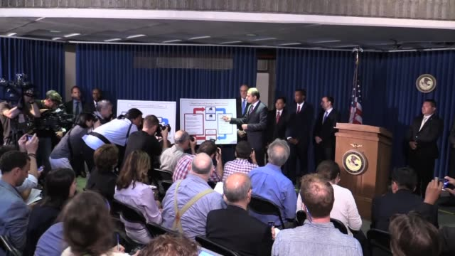 attorney preet bharara on arrests of top nypd brass on alleged bribery charges. - brass stock videos & royalty-free footage