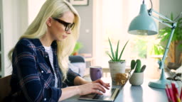 Attractive Blond Businesswoman Typing On Laptop At Home Office