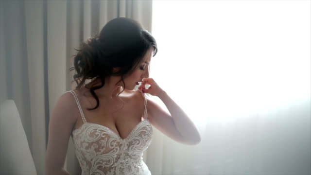 attractive bride posing in her wedding dress - barechested bare chested stock videos and b-roll footage
