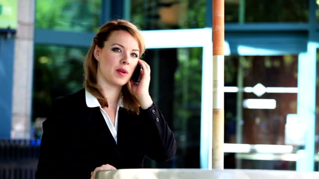 Attractive businesswoman talking on cellphone