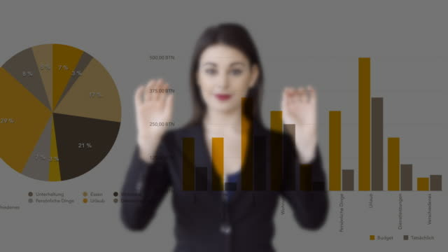 attractive caucasian business women looking at financial business charts. sales profits data information - digital enhancement stock videos & royalty-free footage