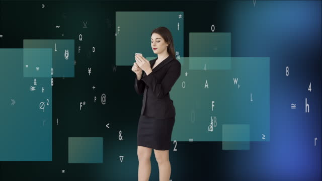 attractive caucasian businesswomen using smart phone analyzing financial data numbers. female sales person thinking about business strategy - digital enhancement stock videos & royalty-free footage