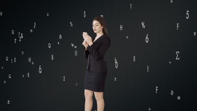 attractive caucasian businesswomen using smart phone analyzing financial data numbers. female sales person thinking about business strategy - digital enhancement stock videos and b-roll footage