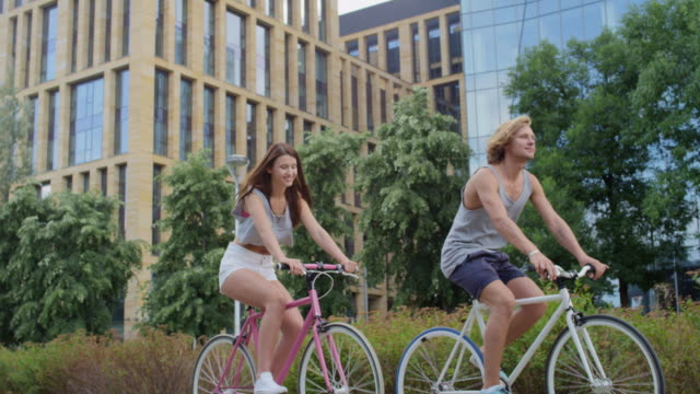 Attractive couple on a bike ride