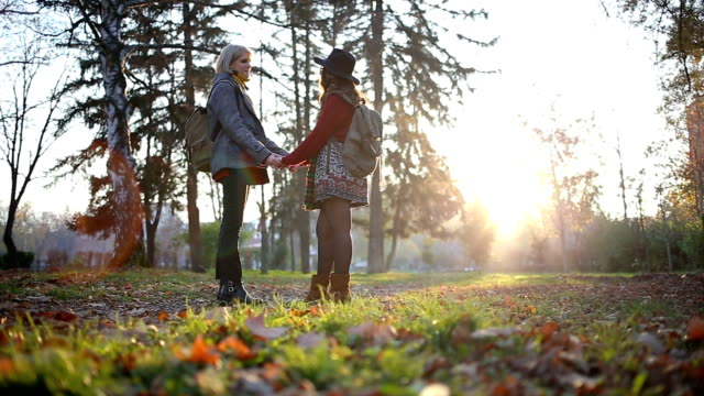vídeos de stock, filmes e b-roll de casal atraente feminino de mãos dadas - amor à primeira vista