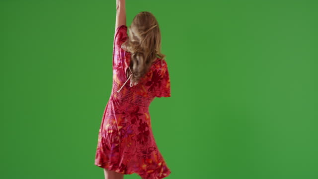 attractive middle aged caucasian woman dancing on green screen - entertainment occupation stock videos and b-roll footage