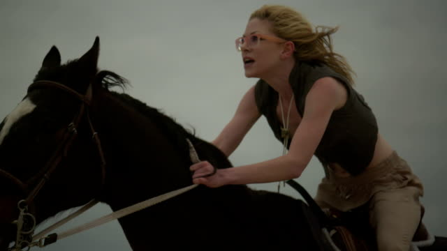 (Slow Motion) Attractive Woman Riding Horse 08
