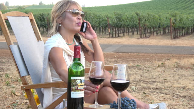 attractive woman talking on mobile phone and drinking wine in a picnic vineyard - napa california video stock e b–roll