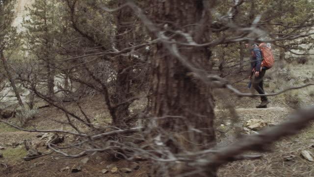Séduisantes jeunes adultes randonnée à travers bois