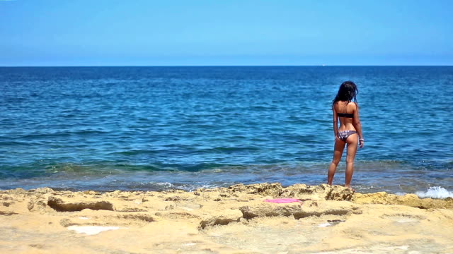 attractive young black-haired girl standing by the sea - military private stock videos & royalty-free footage