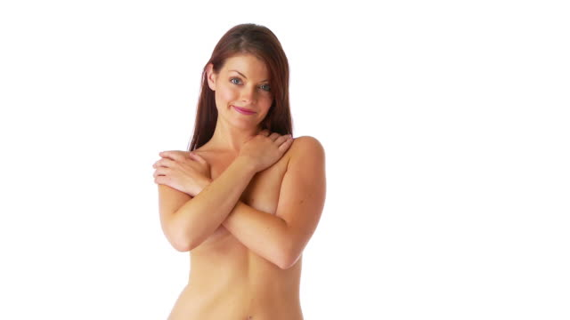 attractive young female covering breasts with arms - covering stock videos & royalty-free footage