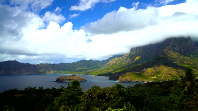 atuona hiva oa ocean bay lush vegetation marquesas - polynesian ethnicity stock videos and b-roll footage