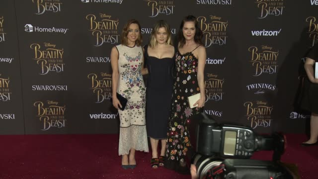 aubrey plaza and katie aselton at the premiere of disney's beauty and the beast at the el capitan theatre on march 02 2017 in hollywood california - aubrey plaza stock videos and b-roll footage