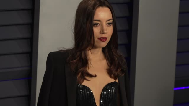 aubrey plaza at 2019 vanity fair oscar party hosted by radhika jones at wallis annenberg center for the performing arts on february 24 2019 in... - aubrey plaza stock videos and b-roll footage