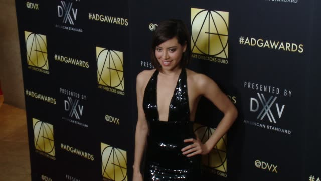 aubrey plaza at art directors guild 20th annual excellence in production design awards at the beverly hilton hotel on january 31 2016 in beverly... - aubrey plaza stock videos and b-roll footage