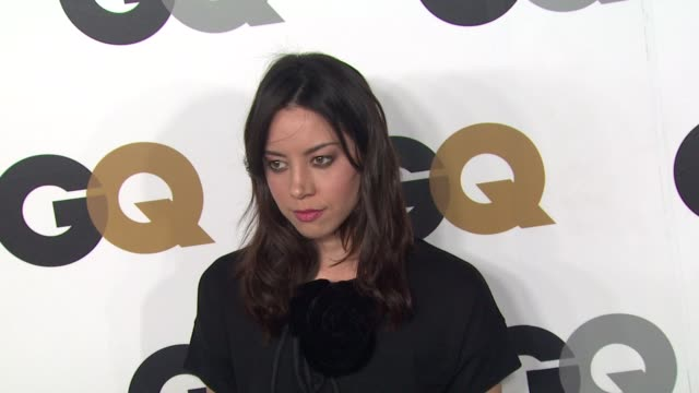 aubrey plaza at gq's 2012 men of the year party on 11/13/12 in los angeles ca - aubrey plaza stock videos and b-roll footage