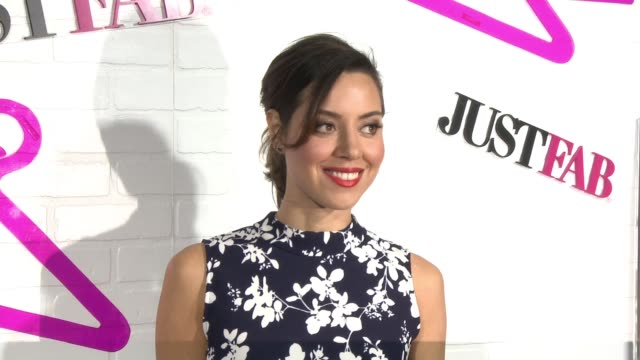 aubrey plaza at justfab celebrates the launch of readytowear in los angeles ca - aubrey plaza stock videos and b-roll footage