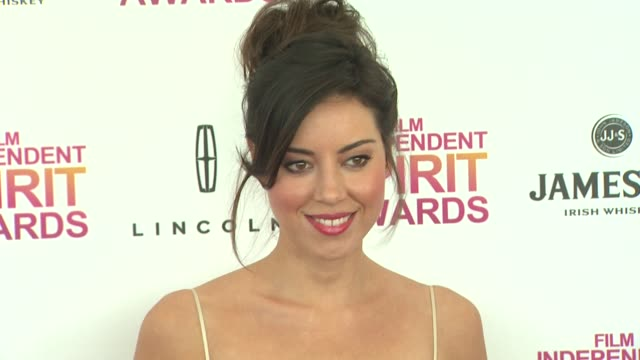 aubrey plaza at the 2013 film independent spirit awards arrivals on 2/23/13 in santa monica ca - aubrey plaza stock videos and b-roll footage