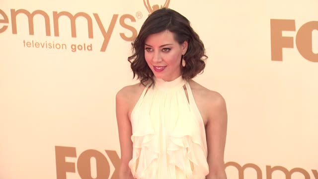 aubrey plaza at the 63rd primetime emmy awards arrivals part 1 at los angeles ca - 63rd annual primetime emmy awards stock videos and b-roll footage