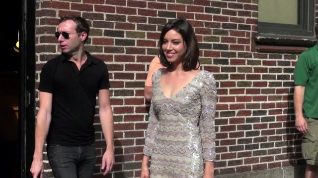 aubrey plaza at the 'late show with david letterman' studio on 08/31/11 - aubrey plaza stock videos and b-roll footage