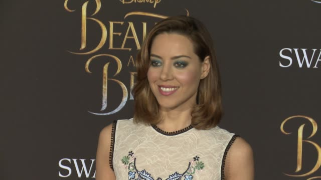 aubrey plaza at the premiere of disney's beauty and the beast at the el capitan theatre on march 02 2017 in hollywood california - aubrey plaza stock videos and b-roll footage