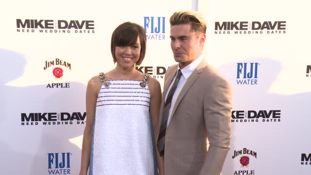 aubrey plaza zac efron at premiere of 20th century fox's mike and dave need wedding dates in los angeles ca - aubrey plaza stock videos and b-roll footage