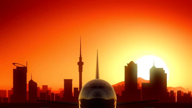 Auckland Airplane Take Off Skyline Golden Background