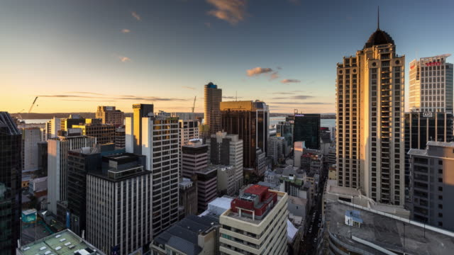 Auckland Buildings Looking Towards Bay - Time Lapse